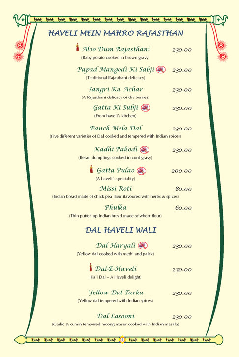 Haveli Restaurant Menu